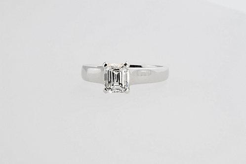 1.02 ct Emerald Cut Diamond Solitaire Ring set in Platinum.