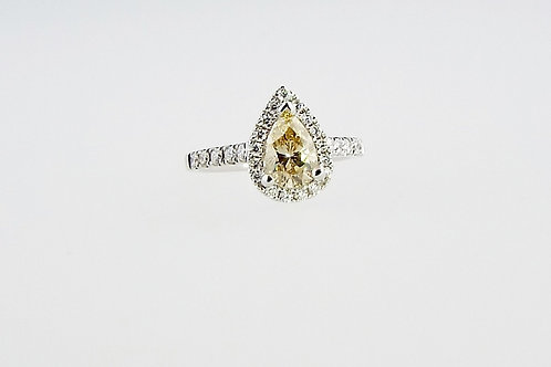 1.08ct Fancy Brown/Yellow Pear Cut Diamond Ring