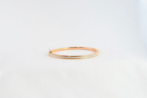 Silver and Rose Gold Plated Hinged Bangle
