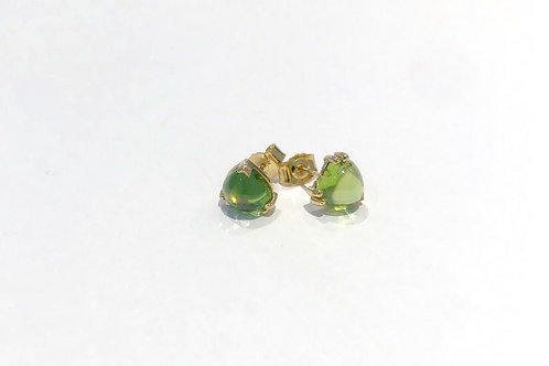 BESPOKE Heart Shaped Peridot Earrings in 18ct Yellow Gold