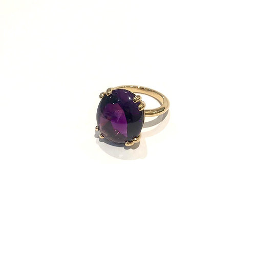 BESPOKE 10.24ct Amethyst Cabochon set in 18ct Yellow Gold