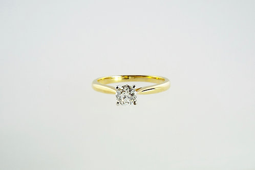 0.53 OLD CUT Solitaire set in 18ct Yellow Gold