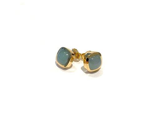 BESPOKE Cushion Cut Aquamarine Cabochon Earrings