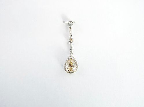 0.83 ct Fancy Light Yellow/Brown Pear Shaped Diamond Pendant
