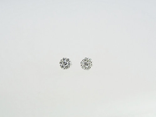 0.25ct Diamond Cluster Stud Earings set in 18ct White Gold