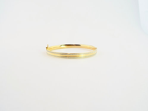 Silver and Yellow Gold Plated Hinged Bangle