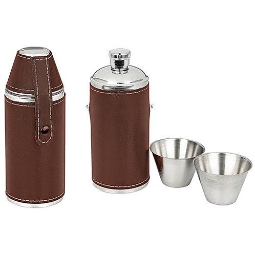 6oz Round Tan Flask
