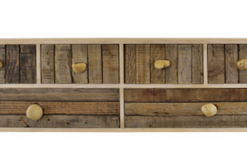 Driftwood effect drawer unit with pebble handles