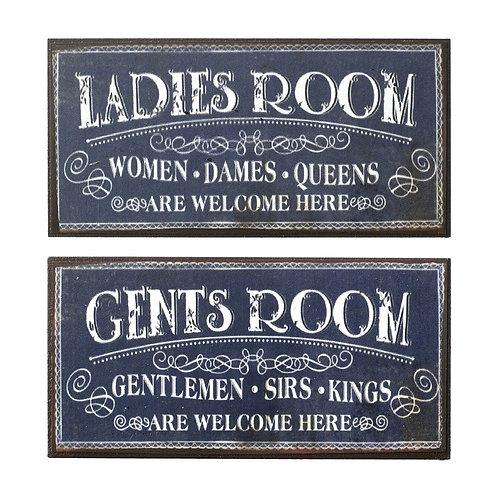 LADIES ROOM - fridge magnet/mini plaque 10x5 cm
