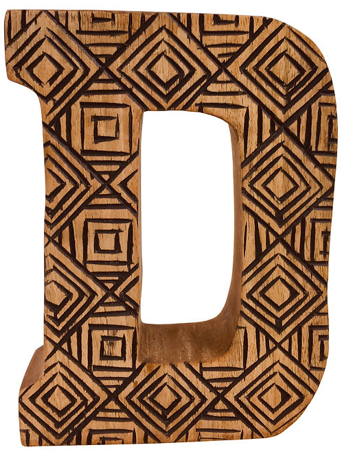 Hand carved wooden letter - geometric D