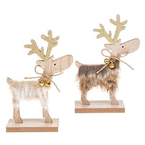 Furry Xmas Reindeer - 17x9 cm