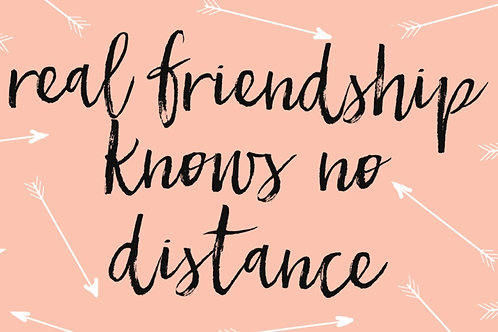 Sentiment card - Real friendship knows no distance, pink