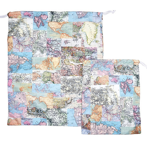 Vintage Map Travel Laundry Bags (set of 2)