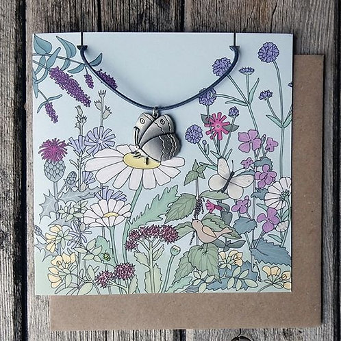 Pewter Butterfly Pendant Gift Greeting Card
