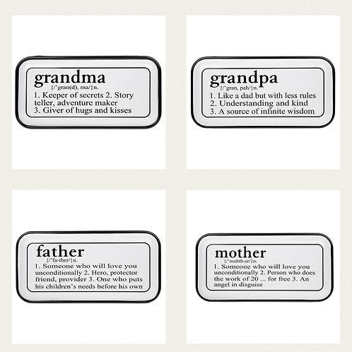 Vintage look enamel plaque Mother-Father-Grandma-Grandpa