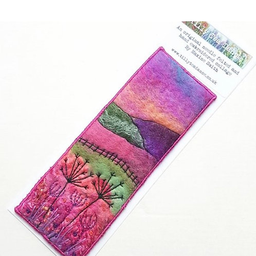Felted wool & embroidered collage bookmark