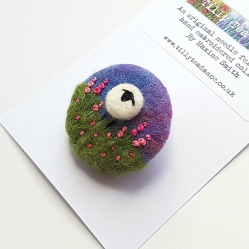 Felted wool & embroidered Sheep brooch