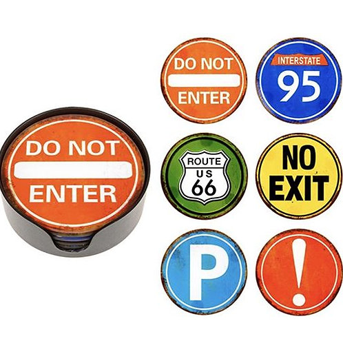 Set of 6 USA Road Sign Coasters