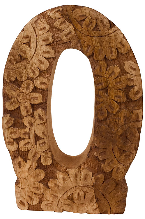 Hand Carved Wooden Letter O