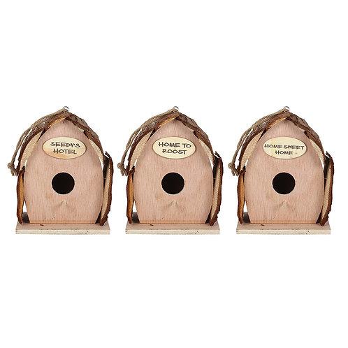 17cm wooden log bird house