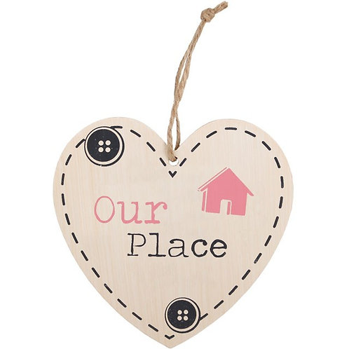Our Place - wooden heart sign