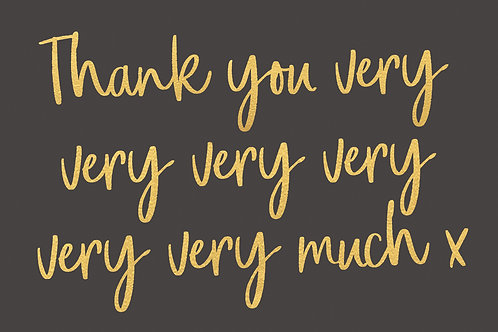 Sentiment postcard - Thank you very very much