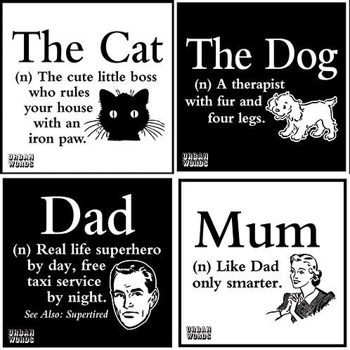 Urban Words min books, Mum - Dad - Dog - Cat