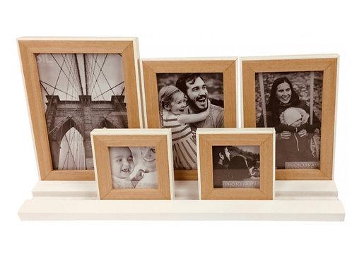 5 photo frames on white tray base