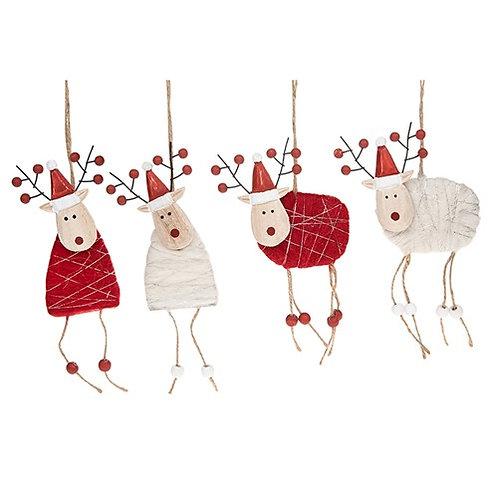 Woolly Xmas hanging Reindeer