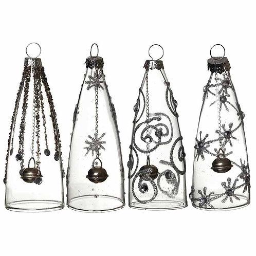 Glass Bell Baubles - 10x3.5 cm