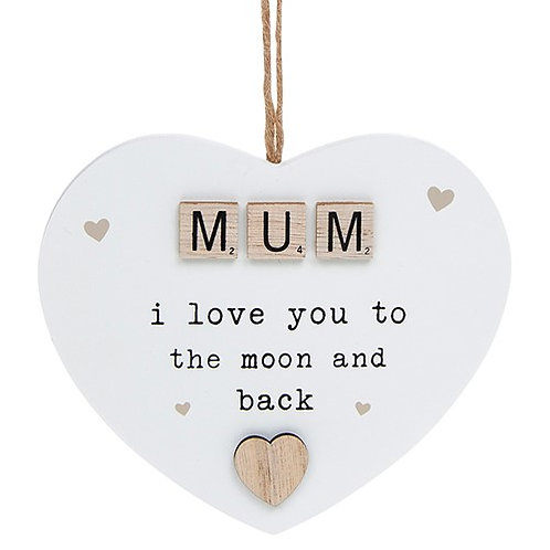 SCRABBLE hanging heart sentiment Mum-Nan-Sister-Auntie-Friend
