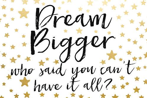 Sentiment postcard - Dream bigger