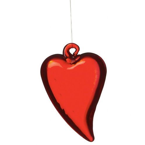 Red glass HEART - 5cm
