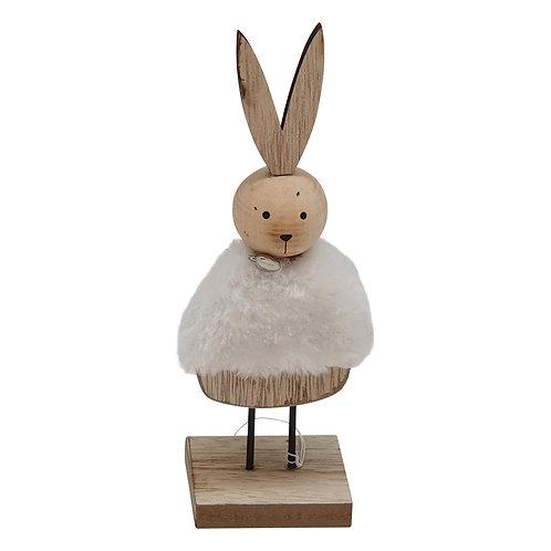 Wooden standing white rabbit