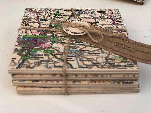 Set of Handmade wooden Shrewsbury Coasters