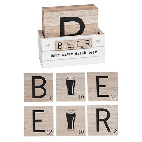 Scrabble coasters - BEER