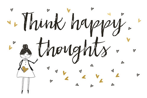 Sentiment postcard - Think happy thoughts