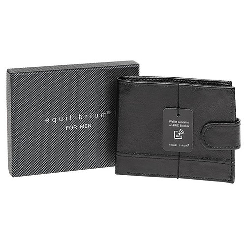 Black & grey RFID mens wallet