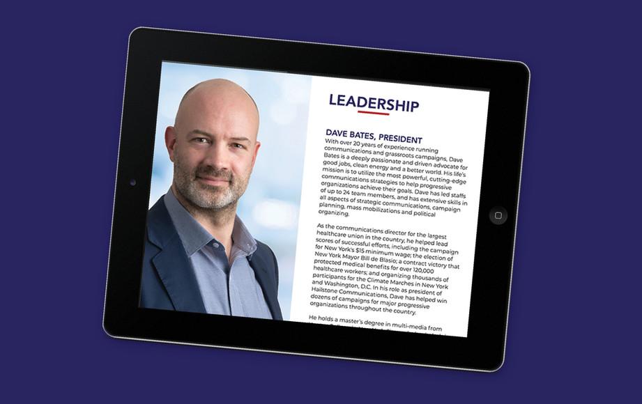 leadership page | mobile web design