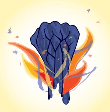 burning hand illustration