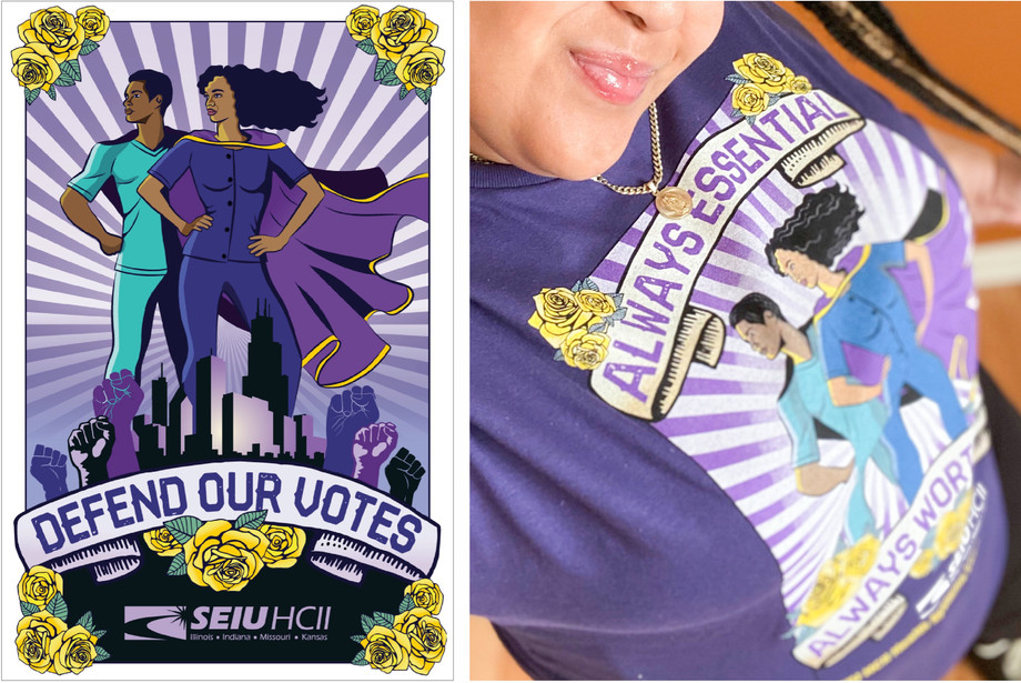 poster  and t-shirt for SEIU HCII