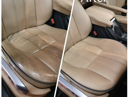 Range Rover Vogue, leather driver's seat refurbishment before & after.