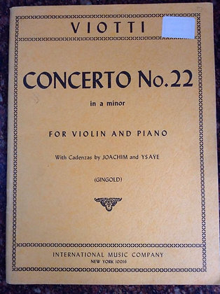 VIOTTI concerto N.22 in A Minor Violin and Piano