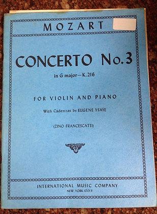 MOZART Concerto 3 in G Major Violin Piano