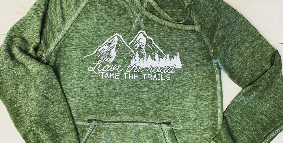 """Leave the Road, Take the Trails"" Unisex Premium Fleece Hoodie"