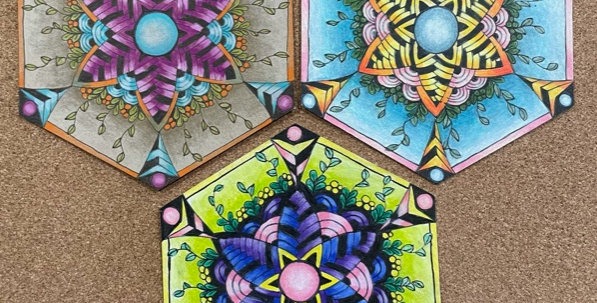 Zentangle Hexagon Passion flower drawing with Wendy Thursday May 13th @ 6:30-9pm