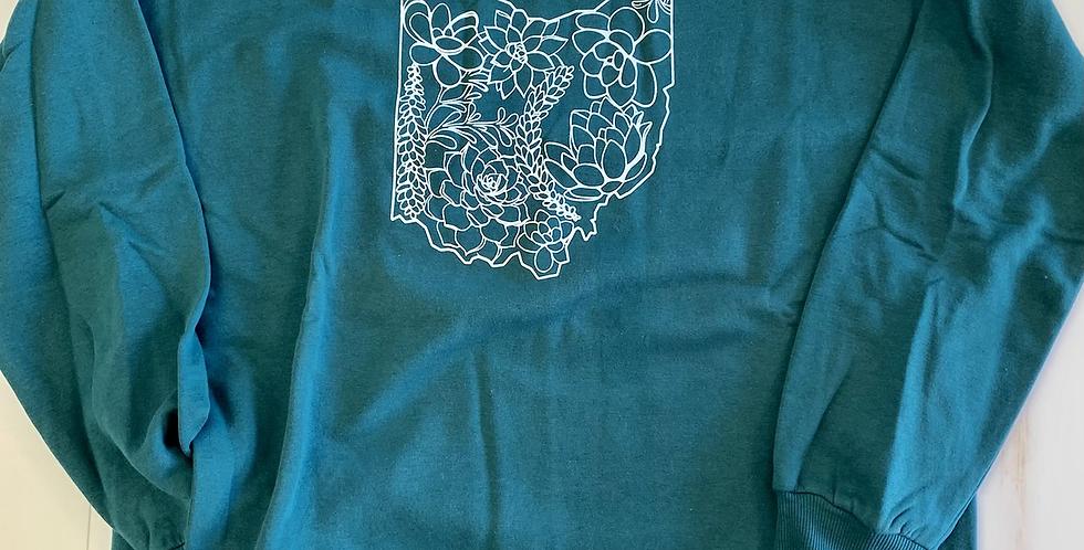 Green Succulent Ohio Ladies Sweatshirt WITH POCKETS