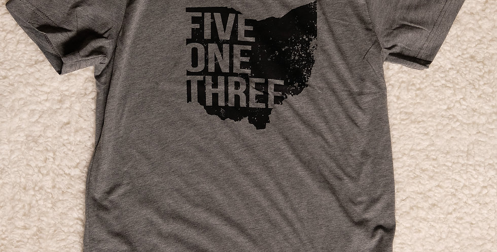 FIVE ONE THREE Unisex Tee - Gray with Black Print