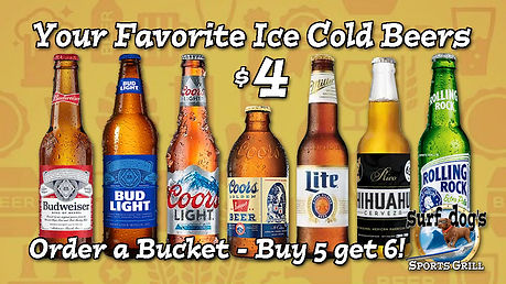 $4 Beer at Surf Dog's Sports Grill