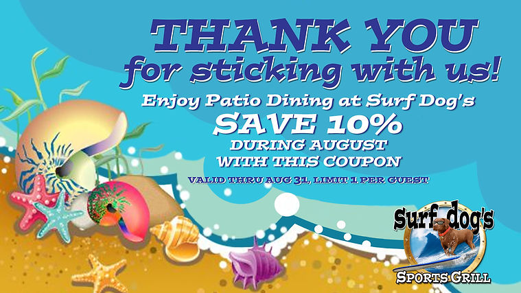 THANK YOU from Surf Dog's Sports Grill